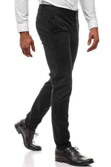 Basic Fashion Simple Plain Slim Fitness Business Dress Pants for Men