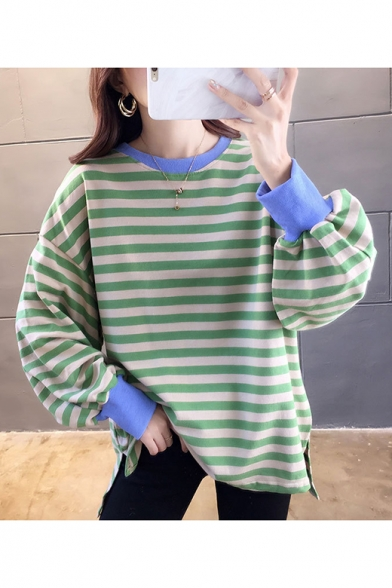 Basic Simple Color block Stripe Print Round Neck Split Hem High Low Long Sleeve Pullover Sweatshirt
