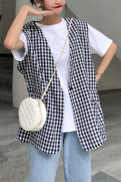 Casual Check Plaid Pattern Print V-Neck Single Button Oversized Vest with Flap Pockets