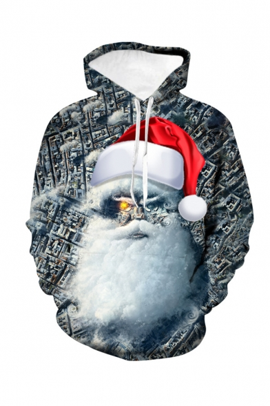 Christmas Creative Santa Claus 3D Printed Long Sleeve Loose Fit Dark Grey Pullover Drawstring Hoodie