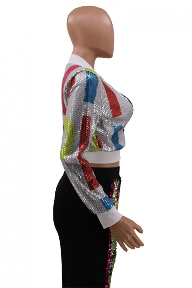 Colorful Geometric Pattern Printed Sequined Trim Long Sleeve Fitted Zip Up Cropped Jacket