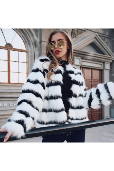 Female Fashionable Black & White Striped Print Faux-Fur Coat Short Jacket