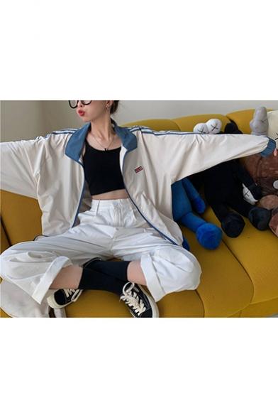 Girls Lapel Collar Color Block Stripe Sleeve Casual Sport Zipper Track Jacket