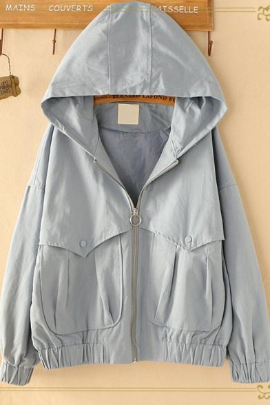 Girls Preppy Style Simple Plain Long Sleeve Hooded Zip Up Jacket