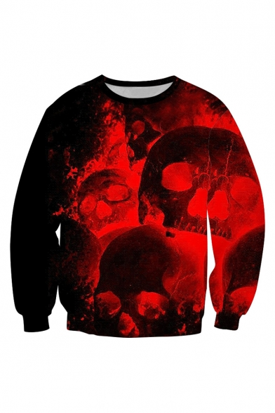 Halloween Red Skull 3D Printed Round Neck Long Sleeve Casual Loose Pullover Sweatshirt
