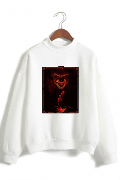 Horrible IT Clown Figure Pattern Mock Neck Long Sleeve Unisex Leisure Sweatshirt