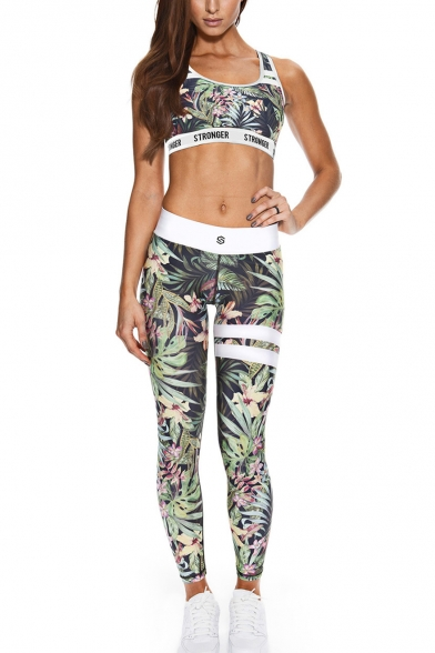 Hot Popular Floral Plant Printed Sleeveless Scoop Neck Vest Tops Mid Waist Workout Pants Two Piece Set, LM556438