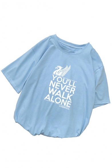 Hot Popular Short Sleeve Round Neck You'll Never Walk Alone Letter Printed Unique T-Shirt for Couple