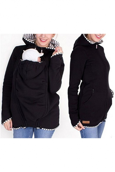 Hot Popular Womens Baby Kangaroo Pocket Stripe Print Zipper Hoodie With Pockets