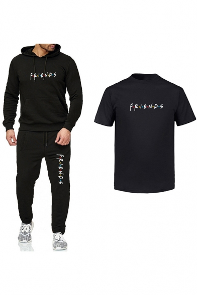 Hot Trendy Friends Logo Printed Short Sleeve T-Shirt Fitted Hoodie with Joggers Sweatpants Three-Piece Set, Black;dark navy;white;dark gray;light gray, LC555973