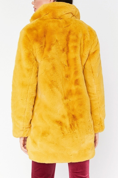 Ladies Soft Plain Lapel Collar Oversized Rabbit Faux Fur Long Coat