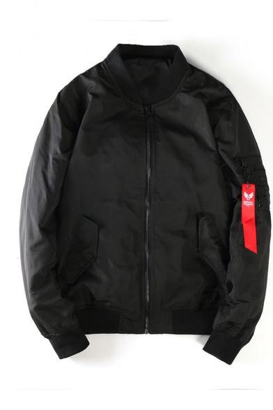 Men's New Stylish Plain Long Sleeve Stand-Collar Zip Up Ribbon Black Bomber Jacket