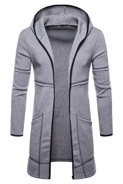 Men's New Trendy Long Sleeve Open Front Plain Longline Slim Fit Overcoat