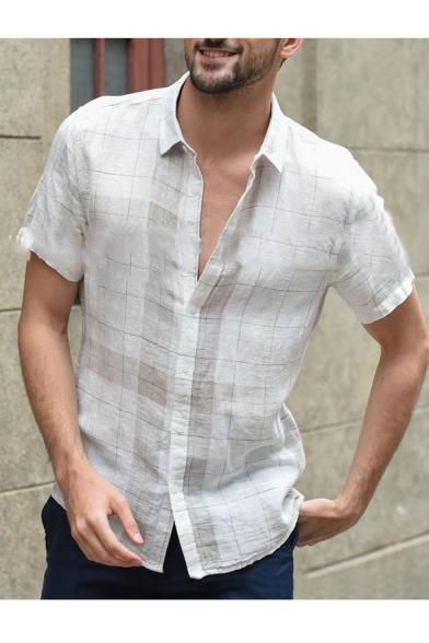 Mens White Short Sleeve Button Down Check Printed Loose Linen Cotton Shirt