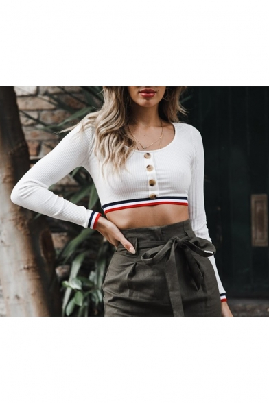 New Arrival Plain Scoop Neck Button Down Long Sleeve Crop Fitted Top Tee