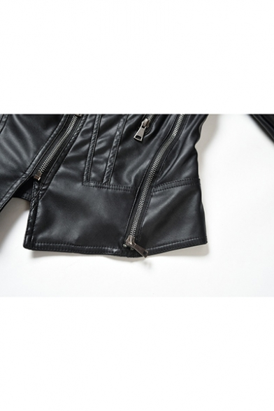 New Arrival Simple Plain Long Sleeve Notched Lapel Collar Zipper Front PU Motorcycle Jacket