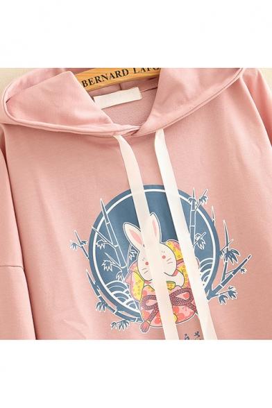 New Fashion Cartoon Rabbit Frog Button Long Sleeve Loose Drawstring Hoodie