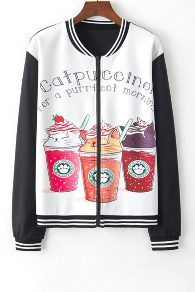 New Stylish Cartoon Coffee Cat Letter Print Zipper Front Long Sleeve Stand-Up Collar Black and White Baseball Jacket