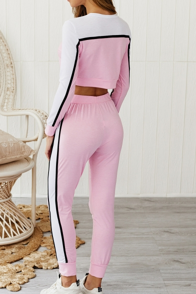 New Stylish Color Block Long Sleeve Crop Tee with Slim Fit Joggers Pants Two-Piece Set