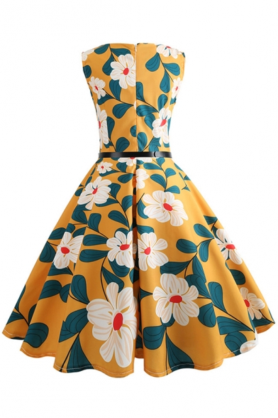 New Trendy Round Neck Sleeveless Floral Print Belt Zip Back Pleated Fit Midi Dress