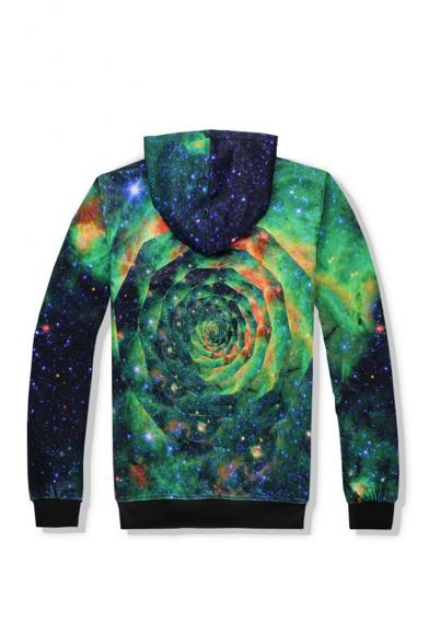 Popular Fashion Green Swirl Galaxy 3D Printed Long Sleeve Casual Pullover Hoodie