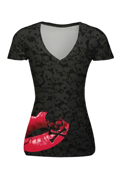 Summer Hot Trendy Halloween Lips Skull Printed V-Neck Short Sleeve Black T-Shirt For Women