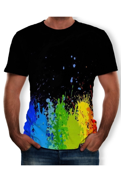Summer Hot Trendy Short Sleeve Round Neck Colorblock Mutilcolor Printed Simple Tee