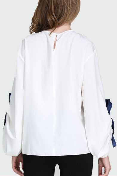 Summer Trendy Bow Blouson Long Sleeve Round Neck Plain Hollow Out Sheer Patched White Shirt