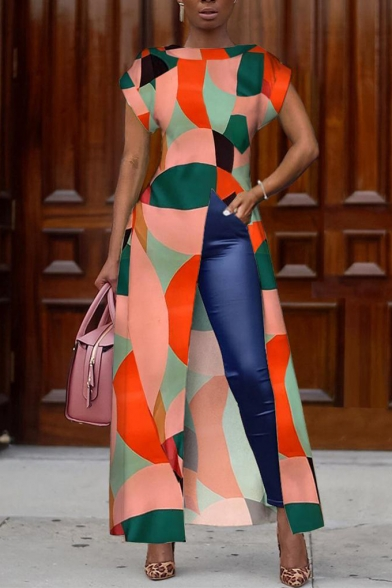 Trendy Geometric Pattern Round Neck Short Sleeve Split Front Maxi A-Line Dress