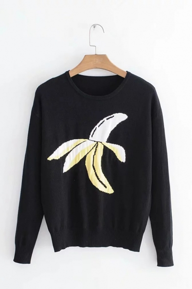 Trendy Off-Duty Banana Print Round Neck Long Sleeve Cozy Sweater for Women, LM557081