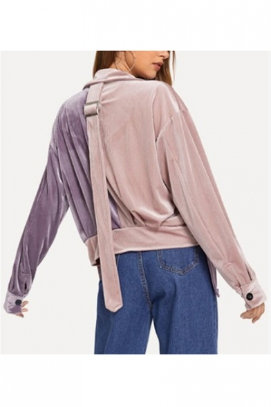 Unique Trendy Colorblock Two-Tone Notched Lapel Collar Single Breasted Pink and Purple Jacket