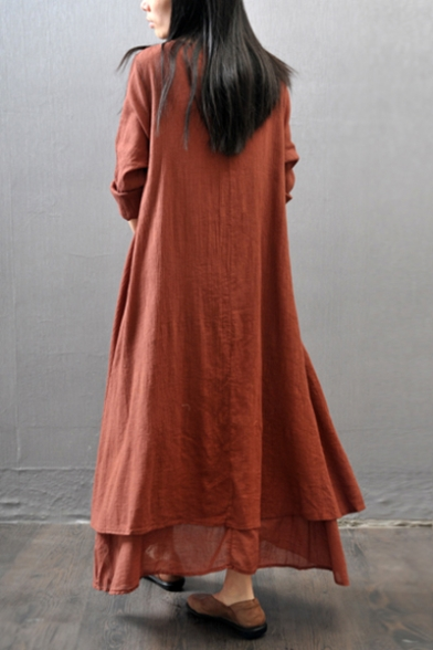 Vintage Button V-Neck Long Sleeve Layered Fake Two-Piece Maxi Linen Dress