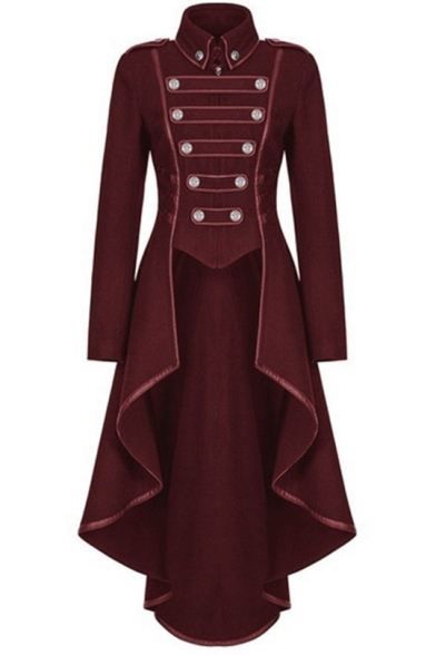 Vintage Medieval Cosplay Costume Turn-Down Collar Long Sleeve Longline Swallowtail Coat