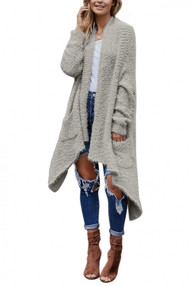 Winter Women's Warm Asymmetric Hem Open Front Mid-Length Knit Plain Loose Coat