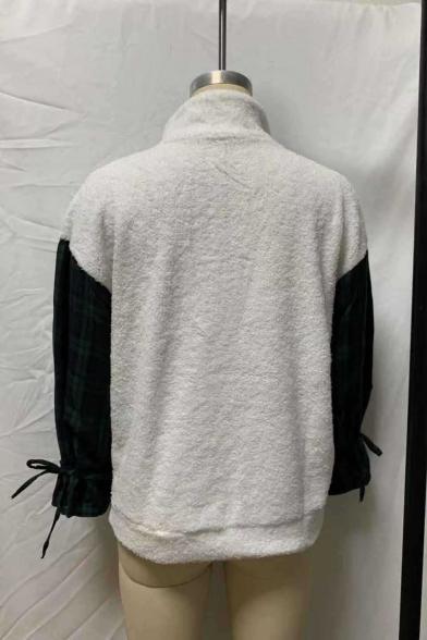 Women's New Fashion Zippered Stand Collar Check Printed Long Sleeve Fluffy Fleece Sweatshirt