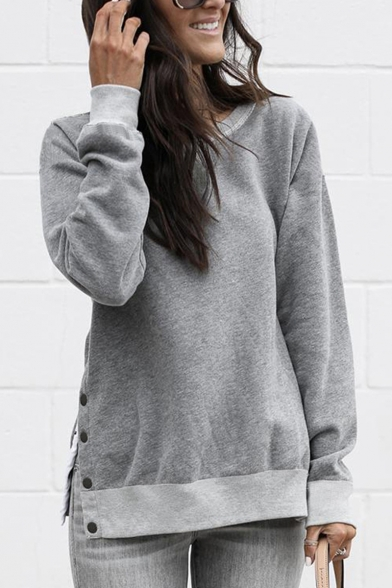 Women' Plain Long Sleeves Split Side Button Embellished Pullover Loose Sweatshirt, Gray;army green;navy, LM554944