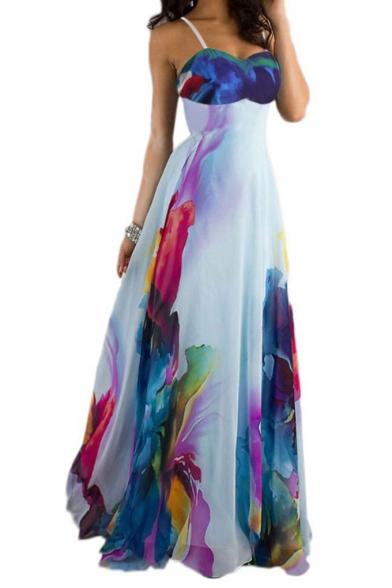 Women's Sexy Scoop Neck Sleeveless Zip Floral Printed Maxi Cami Dress