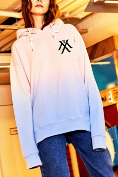 Womens Kpop Boy Group Letter Logo Print Ombre Color Long Sleeve Oversized Hoodie, LC558173