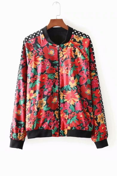 Womens New Fashion Polka Dot Floral Pattern Panel Long Sleeve Zipper Short Flight Jacket