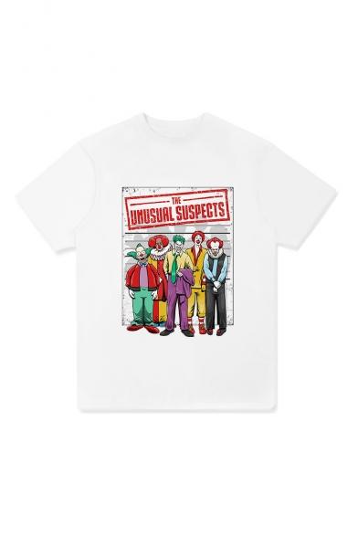Womens Stylish Vintage UMUSURL SUSPECTS Letter Clown Printed Round Neck Short Sleeve T-Shirt
