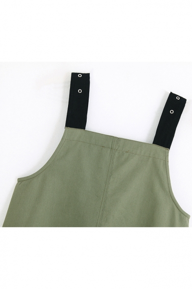 Womens Summer Simple Plain Army Green Buckled Straps Zipper Front Mini Overall Dress