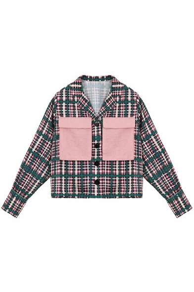 Womens Vintage Green Plaid Printed Long Sleeve Notched Lapel Collar Button Down Short Jacket