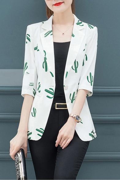 Cactus Pattern Printed Notched Lapel Collar Single Button White Chiffon Vintage Blazer