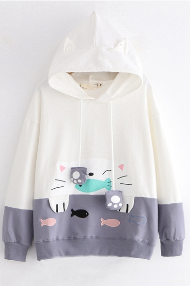 Cat Fish Embroidered Long Sleeve Color Block Cat Ear Leisure Hoodie