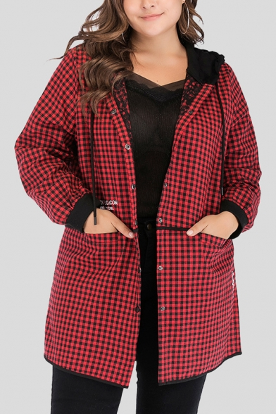 Classic Fashion Plaid Pattern Printed Colorblocked Hooded Single Breasted Longline Coat
