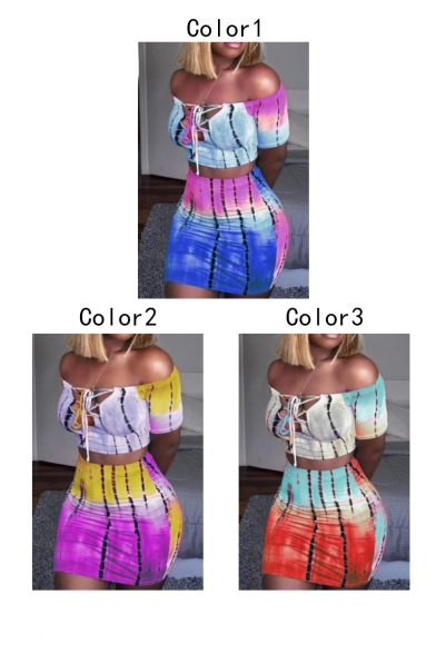 Classic Short Sleeve Cutout Lace Up Front Cropped T Shirt with High Waist Mini Skirt Tie Dye Skinny Fitted Co-ords