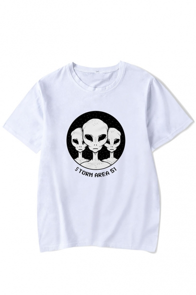 Cool Funny Storm Area Alien Printed Round Neck Short Sleeve Loose Leisure Tee