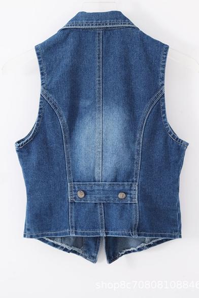 Dark Blue Chic Zipper Pendant Embellished Notched Lapel Sleeveless Single Breasted Short Denim Vest Coat