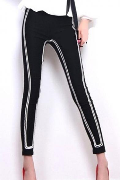 Fashion Contrast Stripe Print Black Sport Skinny Fit Leggings Pants