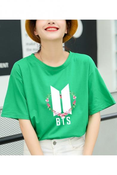 Fashion Summer Kpop Floral Logo Print Basic Round Neck Short Sleeve T-Shirt
